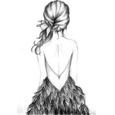 Beautiful hair and dress drawing!