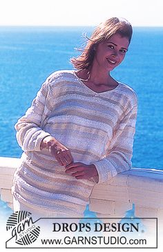 DROPS 55-2 - DROPS Sweater with stripes in 5 different yarn types. Long or short model.