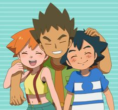 Ash, Brock and Misty Brock Pokemon, Pokemon Alola, Pokemon People, Pokemon Memes, Pokemon Fan Art, Cute Pokemon, Pikachu, Ash Y Misty, Pokemon Ash And Misty