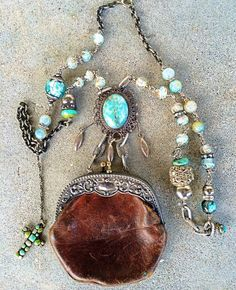 Items similar to Reserved for Amy Teeny leather purse silver plate repousse frame chatelaine change purse necklace assemblage sparkly bits turquoise beads on Etsy Victorian Jewelry, Vintage Jewelry, Vintage Bags, Jewelry Art, Jewelry Design, Copper Jewelry, Jewelry Ideas, Grandmother Jewelry, Found Object Jewelry