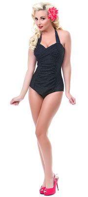 Modern day pinup.  Black & White Betty One Piece Bathing Suit. This web-site has some great one-piece/modest swimsuits