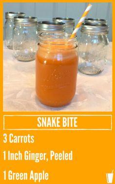 Snake Bite Healthy Juice Recipe listed with a mason jar of orange juice.