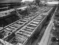 Construction of Mulberry Harbours, Weymouth, April 1944 A25792 - Mulberry harbour - Wikipedia, the free encyclopedia