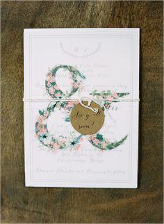 floral ampersand wedding stationery @weddingchicks