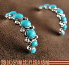 Sterling Silver Jewelry Turquoise Post Hoop Earrings HS33542