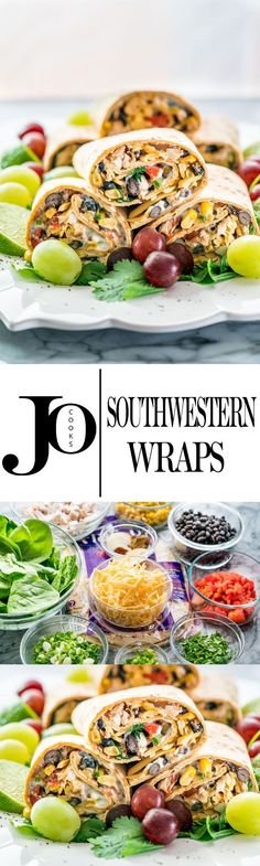 (Would be really good with Trader Joe's yogurt dip) These Southwestern Wraps are packed with nutrition, containing black beans, chicken, spinach, roasted red peppers and a low fat sour cream and blue cheese spread. Easy and nutritious! Wrap Recipes, New Recipes, Cooking Recipes, Favorite Recipes, Healthy Snacks, Healthy Eating, Healthy Recipes, Mexican Food Recipes, Ethnic Recipes