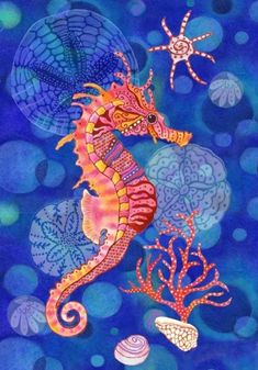 DIY Diamond Painting Cartoon Seahorse on Blue - craft kit DIY Diamantmalerei. Seahorse Art, Seahorses, Seahorse Drawing, Seahorse Painting, Seahorse Cartoon, Art Plage, Art Bleu, Blue Crafts, Inspiration Art