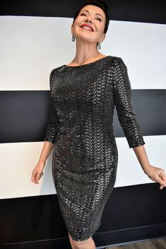 SEQUINS DRESS-JOSEPH RIBKOFF Fitted stretch jersey dress strewn with luminous and elegant sequins. The length sleeve makes it 4 Season wear for that special occasion! Occasion Wear, Special Occasion, Sequence Dress, Joseph, How To Make, How To Wear, Sequins, Elegant, Formal Dresses