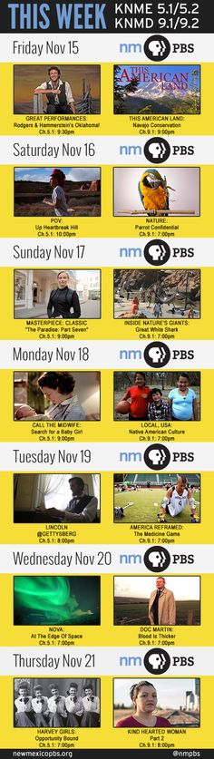 This week on New Mexico PBS: November 15-21, 2013 http://www.newmexicopbs.org/schedule/ for the full schedule #NewMexico #pbs #albuquerque #santafe #tvschedule