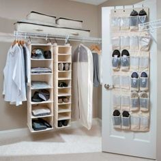 Heavy Duty Canvas Closet Organizers - Storage Ideas for Closets. Can make a closet anywhere with the white metal rack Spring Cleaning Organization, Closet Organization, Cosmetic Organization, Over Door Shoe Rack, Diy Walk In Closet, Organizar Closet, Ideas Para Organizar, Space Saving Storage, Home Hacks