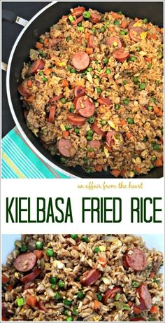 Kielbasa Fried Rice - An Affair from the Heart -- Replace your typical chicken or beef in fried rice with Polska Kielbasa for a delicious flavor packed meal in a skillet! #CreateYourOwnSkillet #Sponsored @HillshireFarm