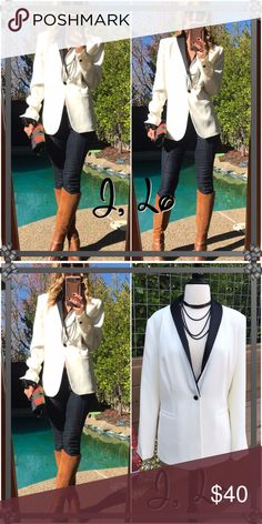 J Lo Sharp, classy and chic!. Blazers are just all around the ultimate piece. Dressy & casual they all just look fabulous!. It's crisp cream and black..great over coat as well. Pristine condition! Jennifer Lopez Jackets & Coats Blazers