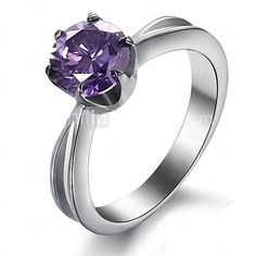 Fashion Stainless Steel Titanium Ring Jewelry 1.75Ct Elegant 316L Women Amethyst Ring 2016 - $5.55