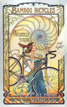 Art Nouveau (-stijl) Vrouw *Lady   ~Bamboo Bicycles~