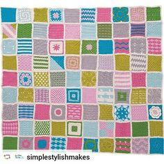 """Este es el proyecto de crochet de la colección """"Mis creaciones de Crochet"""" : manta tejida con 90 cuadrados a crochet"""