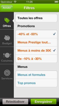 LaFourchette - iPhone / Filtre - sous-menu