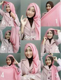 tutorial hijab segi empat ala elzatta