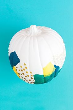 Skip carving this Halloween and decoupage your pumpkin instead with this easy, kid-friendly technique from #12monthsofmartha blogger @sarahhearts