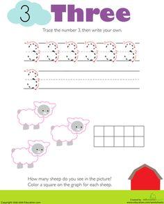 Kindergarten Writing Numbers Counting & Numbers Worksheets: Tracing Numbers & Counting: 3 Worksheet