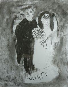 Houtskooltekening van een oude trouwfoto,  ik ben vertrokken van een trouwfoto van hun grootouders.