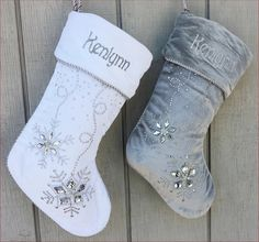 """Personalized Christmas Stockings - Silver White Velvet 20"""" with ICE crystal gems Christmas Stocking Embroidered with Names Velvet Stockings by eugenie2 on Etsy https://www.etsy.com/listing/210811853/personalized-christmas-stockings-silver"""