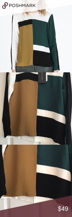 ZARA MODERN COLOUR-BLOCK TOP Gorgeous top. Perfect for work or any occasion. Brand new with tags. Zara Tops