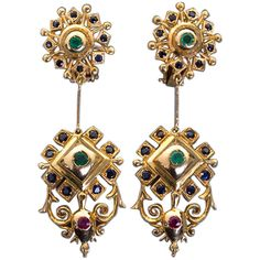 """LALAOUNIS """"Byzantium"""" Dangle Earrings ❤ liked on Polyvore"""