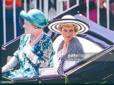June 14, 1988: Queen Elizabeth, The Queen Mother, and Diana, Princess of Wales in the carriage procession at The Royal Ascot race meeting in Ascot ,United Kingdom.