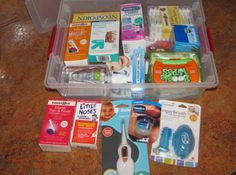 Baby first aid kit- Mylicon, Gripe Water, thermometers, Q-tips, NoseFrida, the works!