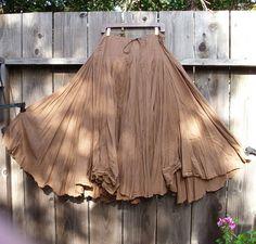 Romantic Bohemian Skirt/ Brown Cotton Maxi Gypsy by KheGreen, $75.00