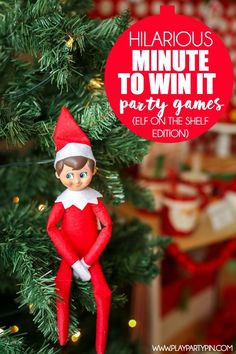 Elf on the Shelf minute to win it games from Play. Party. Pin. inspired by tons of Elf on the Shelf ideas from Pinterest and other minute to win it Christmas ideas. Great party games for kids like a marshmallow munch, candy cane catch, and more! And #9 sounds absolutely hysterical. Such fun minute to win it games for kids!