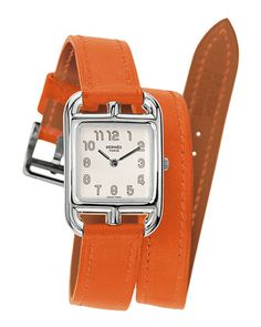 Cape Cod Watch on a Double Tour Orange Calf Strap by Hermes Timepieces at Neiman Marcus.