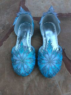 Children's Elsa Shoes Inspired from Disney Frozen Movie with Hand Decorated Snowflakes