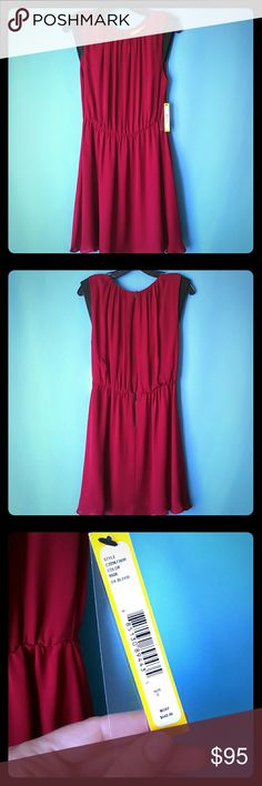 Alice + Oliva deep red dress w/open slit back Ox blood red dress with black leather cap sleeves, open slit back perfect to show some skin or show off a bralette. Zipper feature on backside. Flowy and super comfy. Brand new with tags! Alice + Olivia Dresses Midi