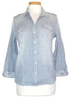 NEW Lucky Brand Womens Shirt Button Front Top Stripe Floral Blue White S $89.50 #LuckyBrand #ButtonDownShirt #Casual
