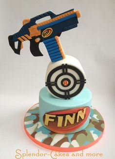 Nerf or nothin' Birthday cake for my son Informations About Nerf. Best Picture For Nerf Gun Birthd Birthday Cakes For Men, Nerf Birthday Party, Nerf Party, Cake Birthday, 11th Birthday, Birthday Ideas, Cake Wrecks, Nerf Gun Cake, Gun Cakes