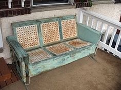 vintage porch glider, perfectly aged! reminds me of granny dalton's house @Kaleigh Wallace Hamilton