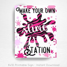 Zebra Pink Slime Birthday Party Printable Slime Station Sign YOU Print  INSTANT DOWNLOAD READY UPON COMPLETION OF PURCHASE  Please convo us if youd like to customize the text/graphic!  Our signs are formatted to 8x10 unless otherwise requested. This listing does not include color changes or verbiage tweaks, if youre interested in tweaking the design please convo us before purchase. We can create an entire party to coordinate with this sign, convo us for details!  ****Please note this is ...