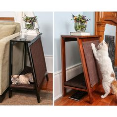 A-Frame Side Table, Cat Bed & Scratcher from The Refined Feline #catsdiyshelves http://www.kitydevils.com/product-category/cats-furniture/