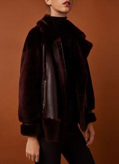Maroon leather aviator jacket - Jackets - Outerwear - Ready to wear - Uterqüe United Kingdom