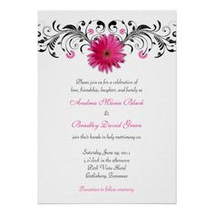 Pink Gerbera Daisy Floral Wedding Invitation