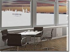 Fensterfolie Fensterdekor Hamburg Skyline blickdicht selbstklebend