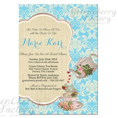 Shabby Blue Spring Bridal Shower High Tea Invite - Baby Shower Tea Party Invitation - Printable Birthday Tea Party Invitation No.387