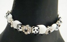 Metal Panda Charms Bracelet With Crystal Flowers In Black White Color