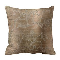 Star Map Unicorn Dog Canis Steel Maroon Drawing Throw Pillow