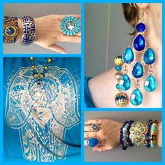 Hamsa Hand top from Ice Designs, Jewel Divas necklace and bracelet stack