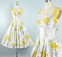 Vintage 50s Dress   1950s Cotton Sundress Yellow Floral Rose Abstract Zig  Zag Print Full Circle b67faa0d35f