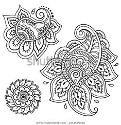 Set of Mehndi flower pattern for Henna drawing and tattoo. Decoration in ethnic oriental, Indian style. Tribal Tattoos, Tribal Pattern Tattoos, Paisley Tattoos, Henna Tattoos, Art Tattoos, Flor Henna, Henna Art, Hand Henna, Henna Hands