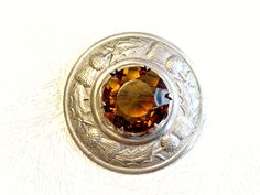 Vintage Cloak Pin Cairngorm Stone Celtic Thistle Design by ToadSuckTreasures on Etsy