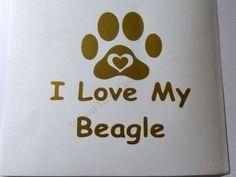 I Love My Beagle Vinyl Decal Wall Glass Block Car Window Handmade #Handmade